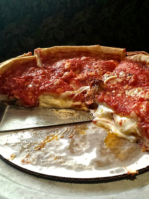 Deep dish pizza at Giordano's